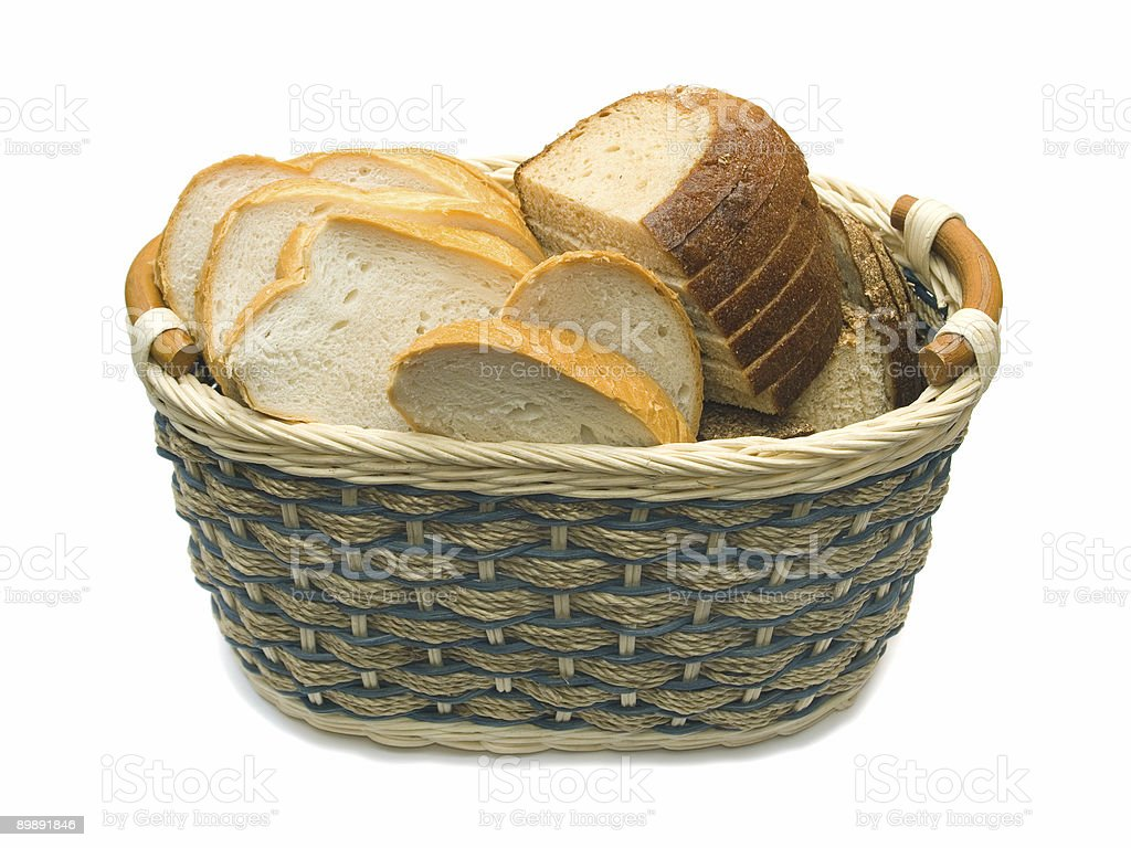 Basket with bread stock photo