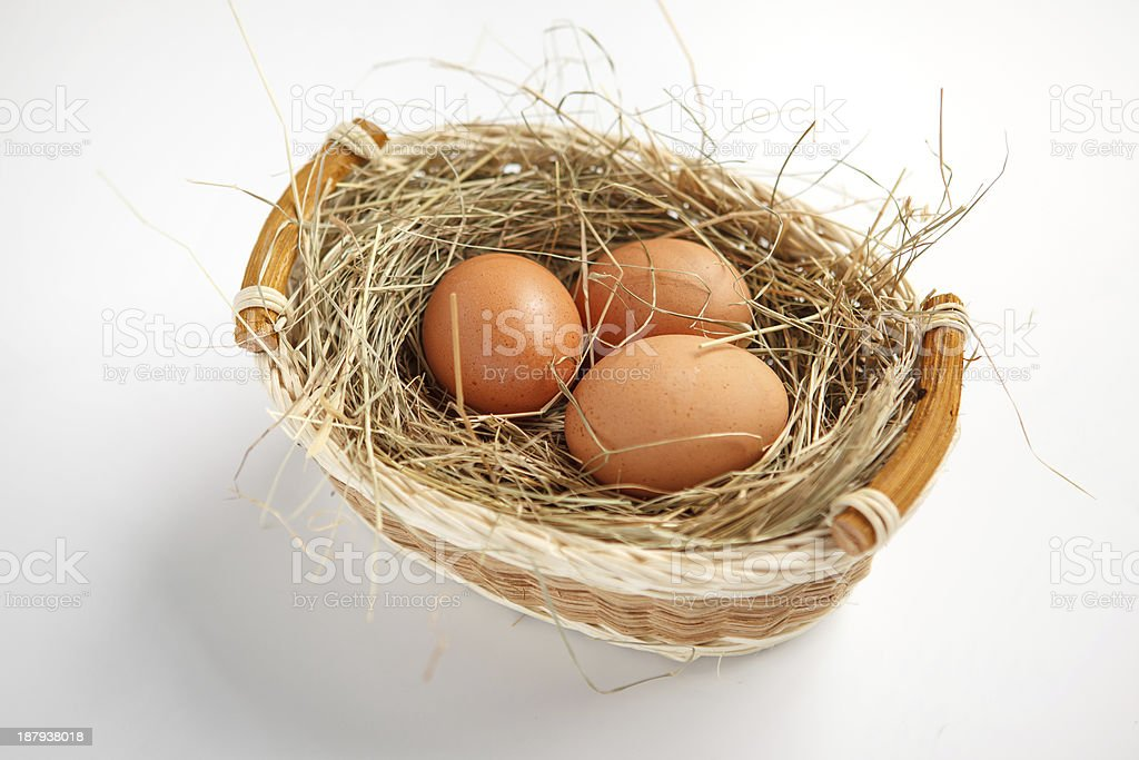 Basket with brown chicken eggs stock photo