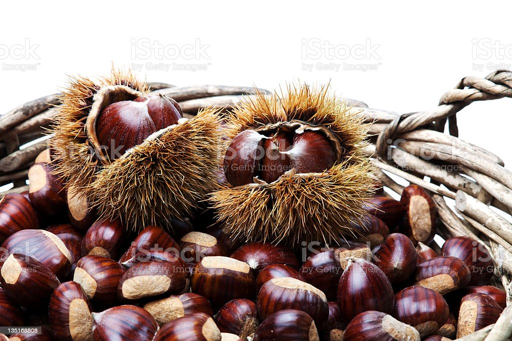 Basket with chestnut royalty-free stock photo