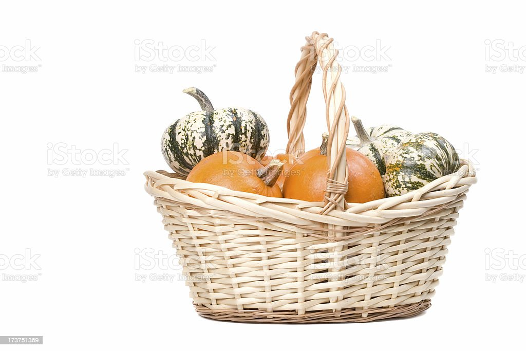 Basket with decorative pumpkins stock photo