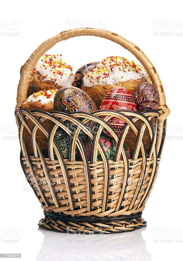 Basket with Easter cakes and painted eggs royalty-free stock photo