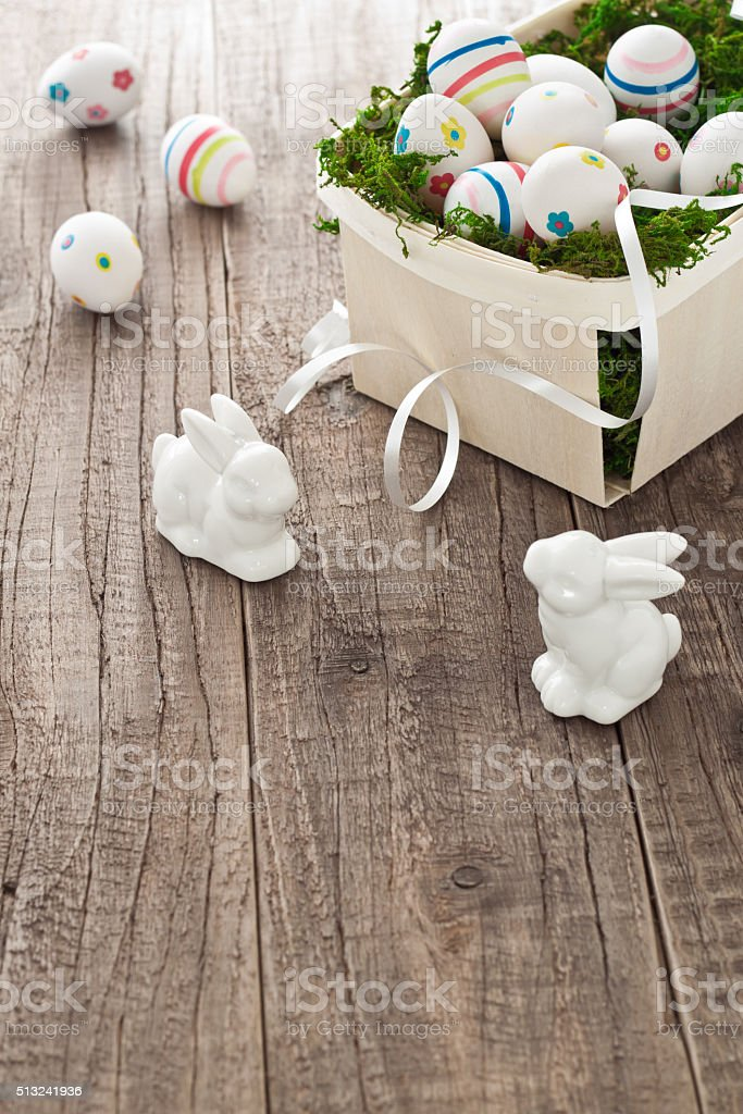 Basket with easter eggs and easter bunnies stock photo
