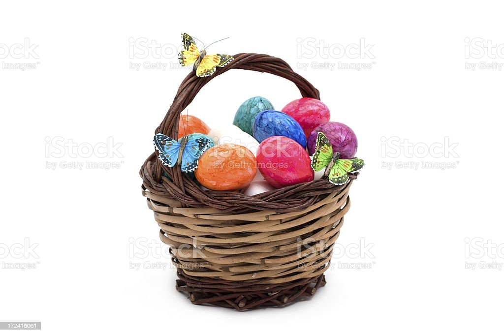 basket with eastereggs royalty-free stock photo