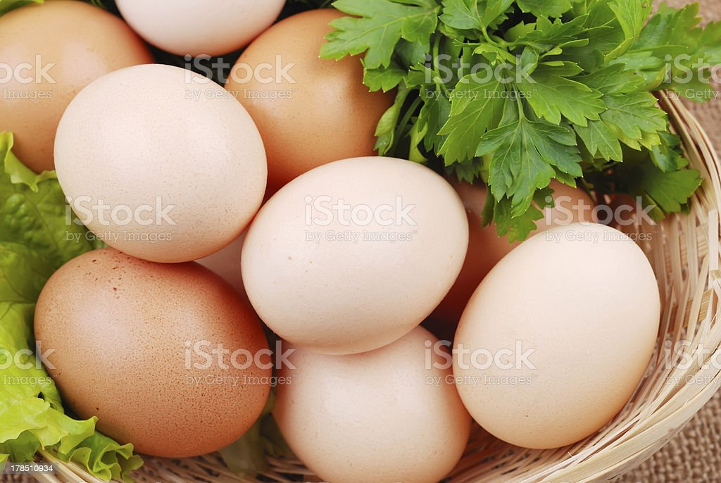 Basket with eggs on sackcloth royalty-free stock photo