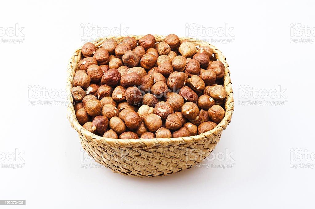 basket with hazelnuts royalty-free stock photo