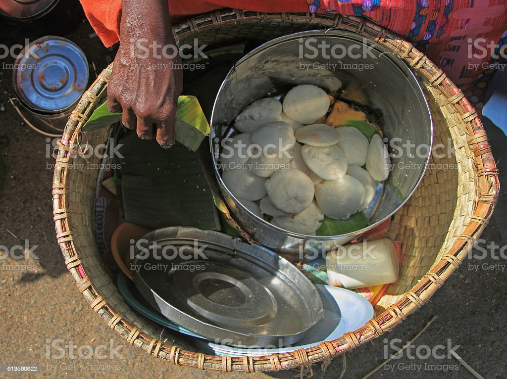 basket with indian street food stock photo