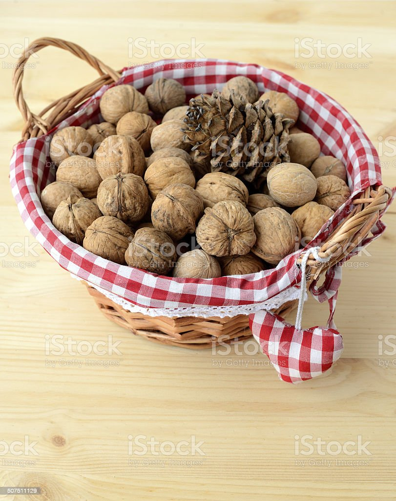 Basket with nuts stock photo