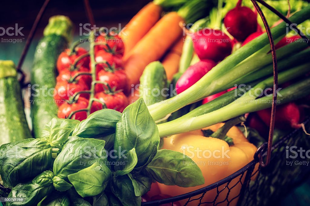 Basket With Organic Vegetables Fresh From Market stock photo