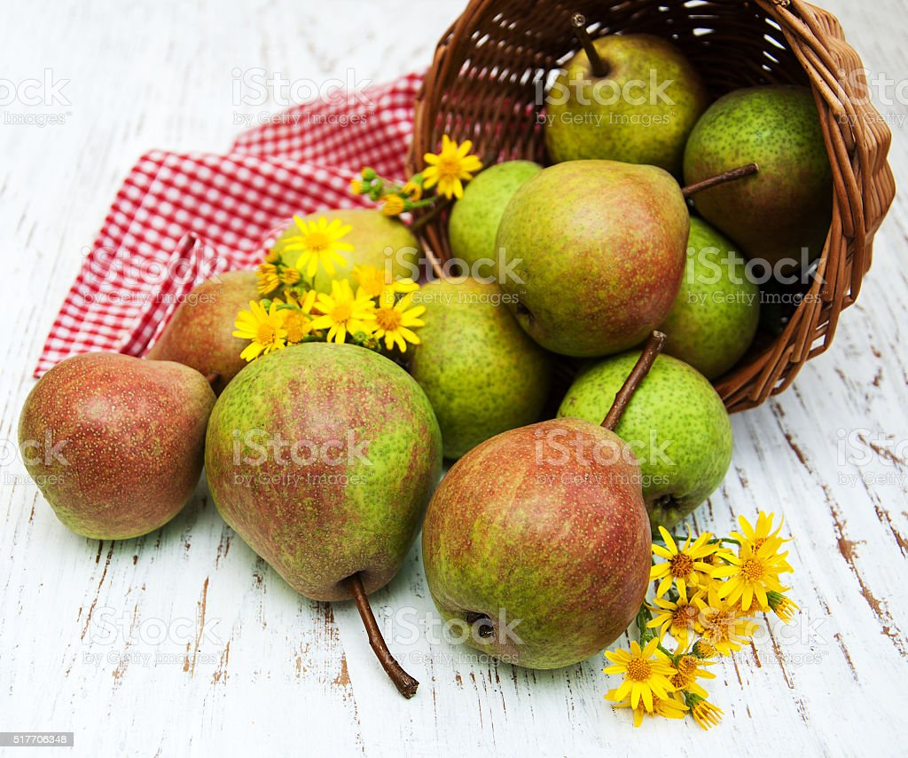 Basket with pears stock photo
