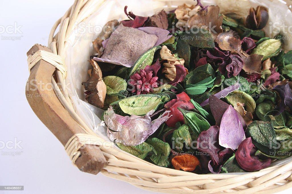 Basket with potpourri stock photo