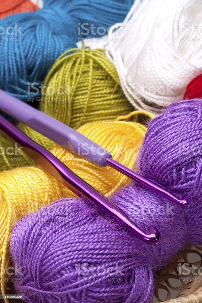 basket with thread and balls for knitting royalty-free stock photo