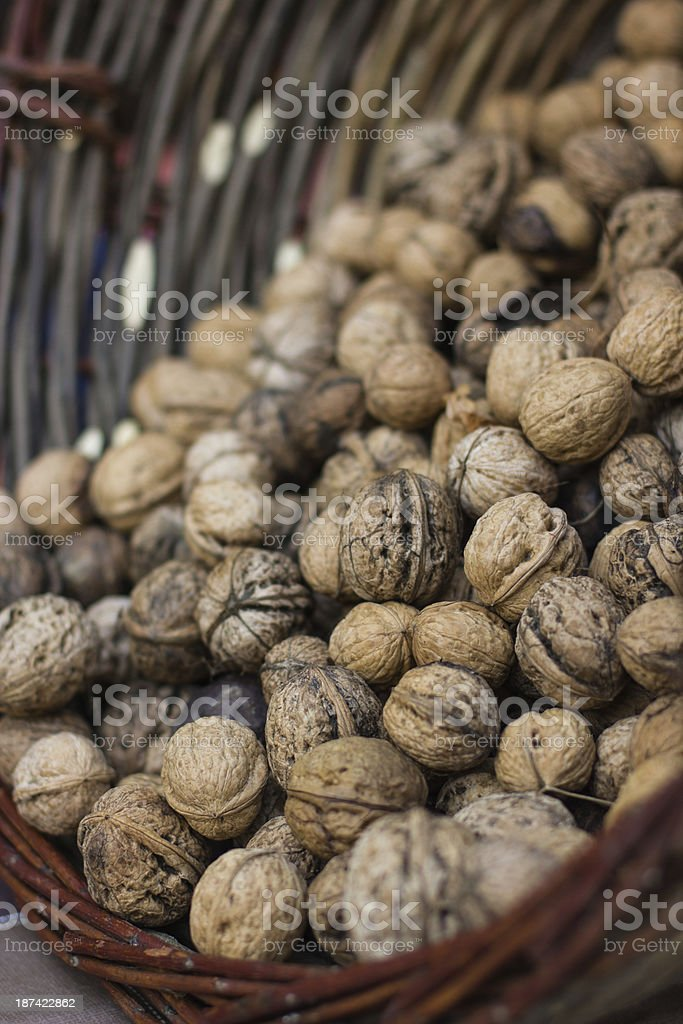Basket with walnuts royalty-free stock photo