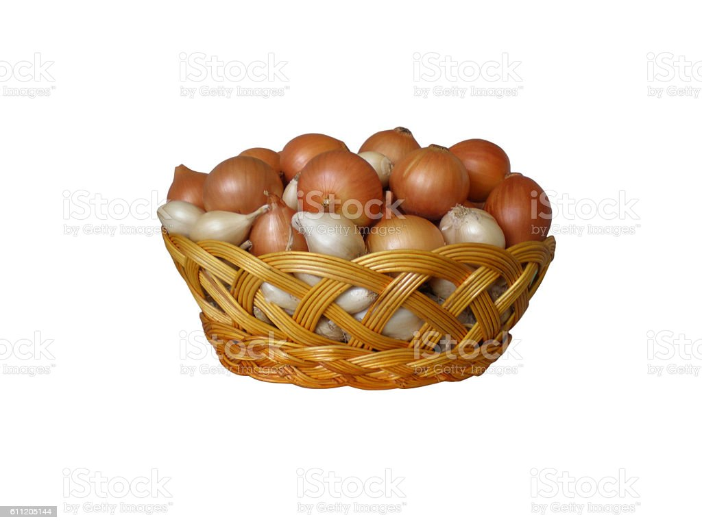 Basket with white and brown onions stock photo