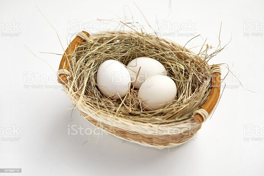 Basket with white chicken eggs stock photo