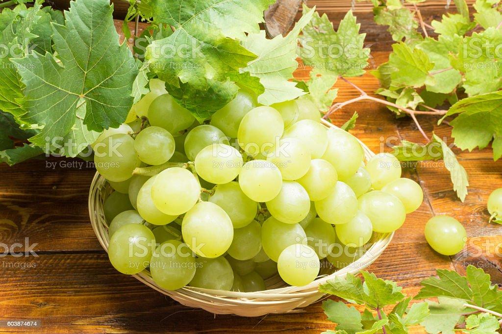 basket with white grapes photo libre de droits