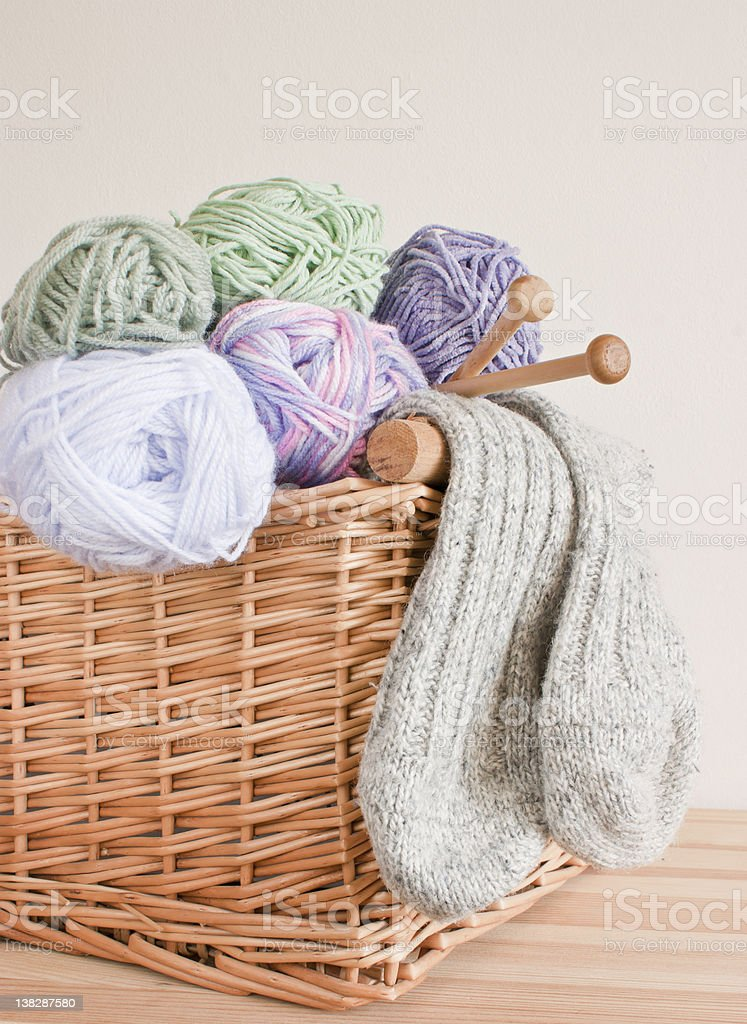 Basket with wool, knitting needles and socks. royalty-free stock photo