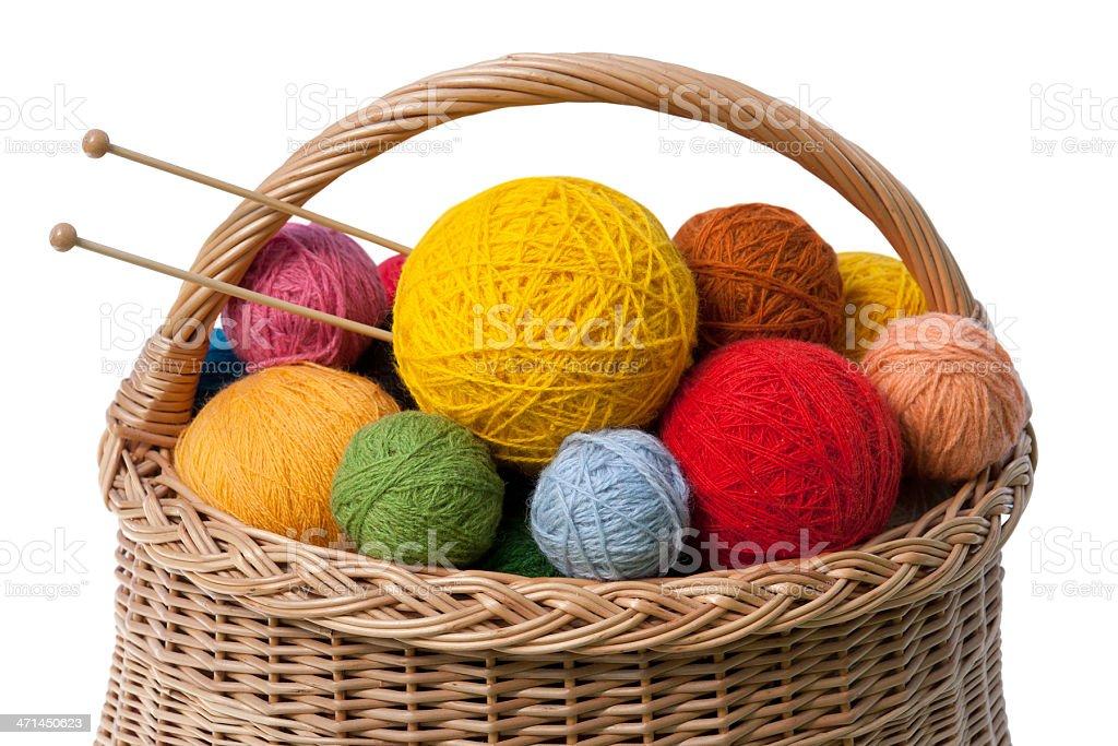 Basket with Yarn Balls stock photo