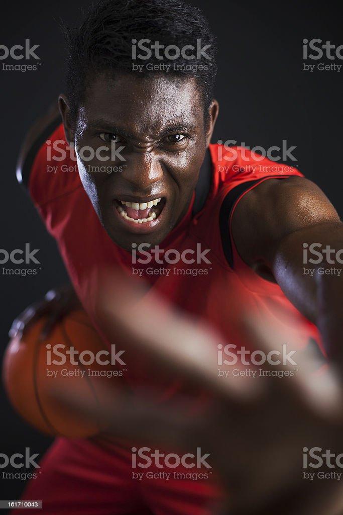 Basketball agressive palyer. stock photo