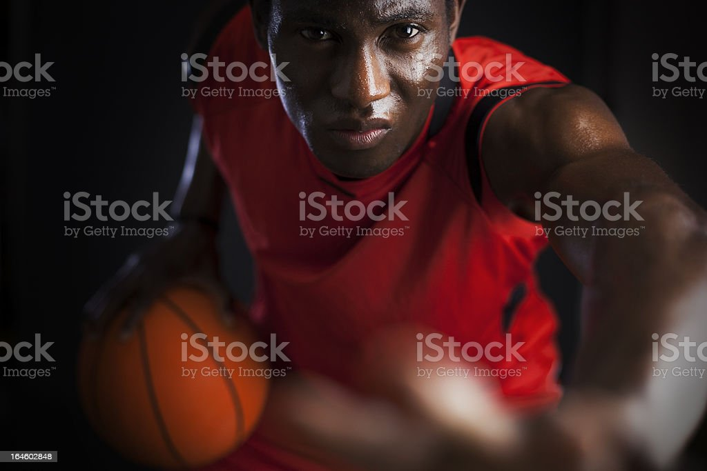 Basketball agressive player stock photo
