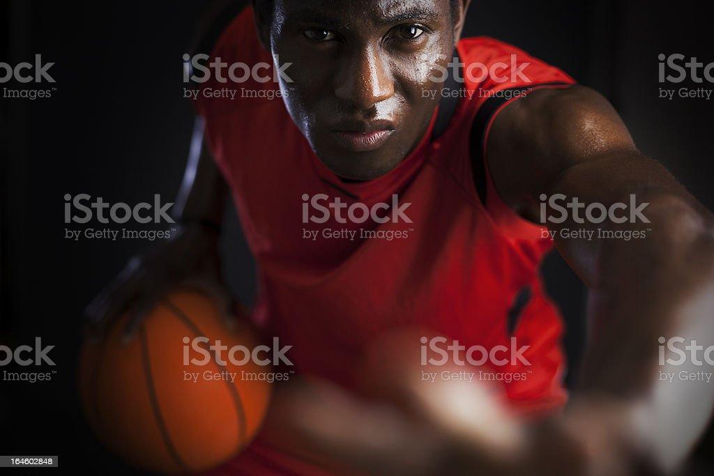 Basketball agressive player stock photo