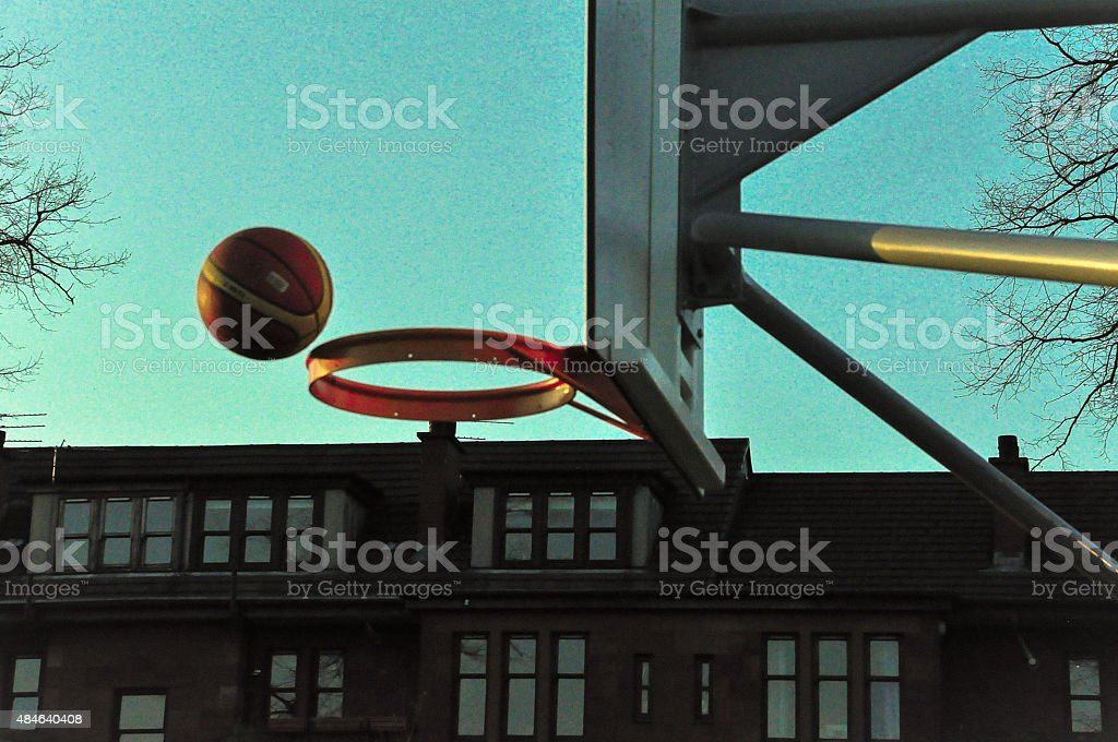 Basketball and hoop at outdoor court stock photo