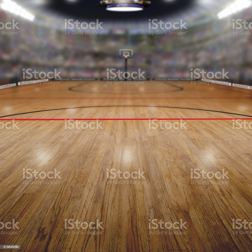 Basketball Arena With Copy Space Background stock photo