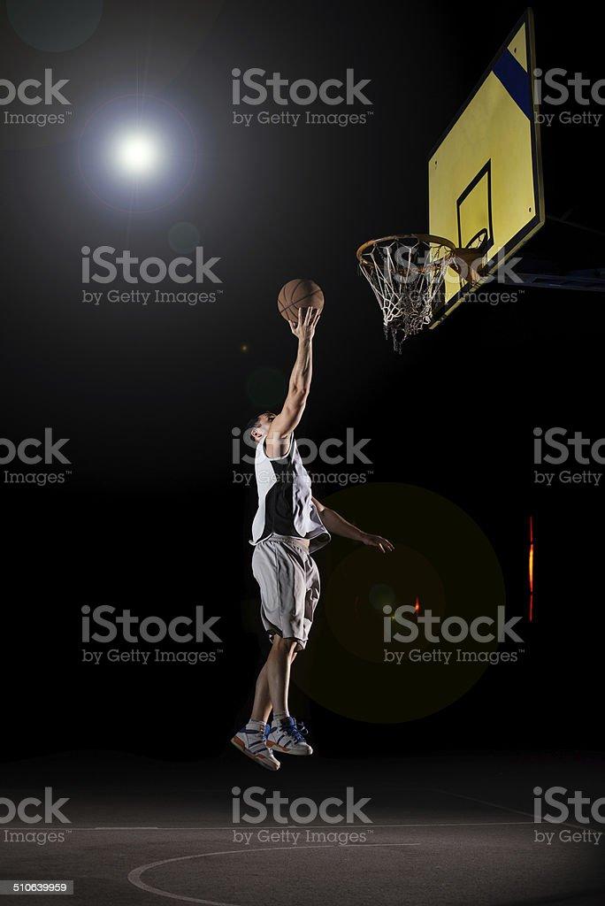 Basketball at night stock photo
