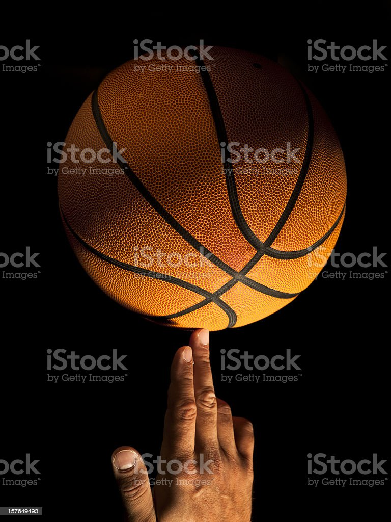 Basketball balance spin on a finger stock photo