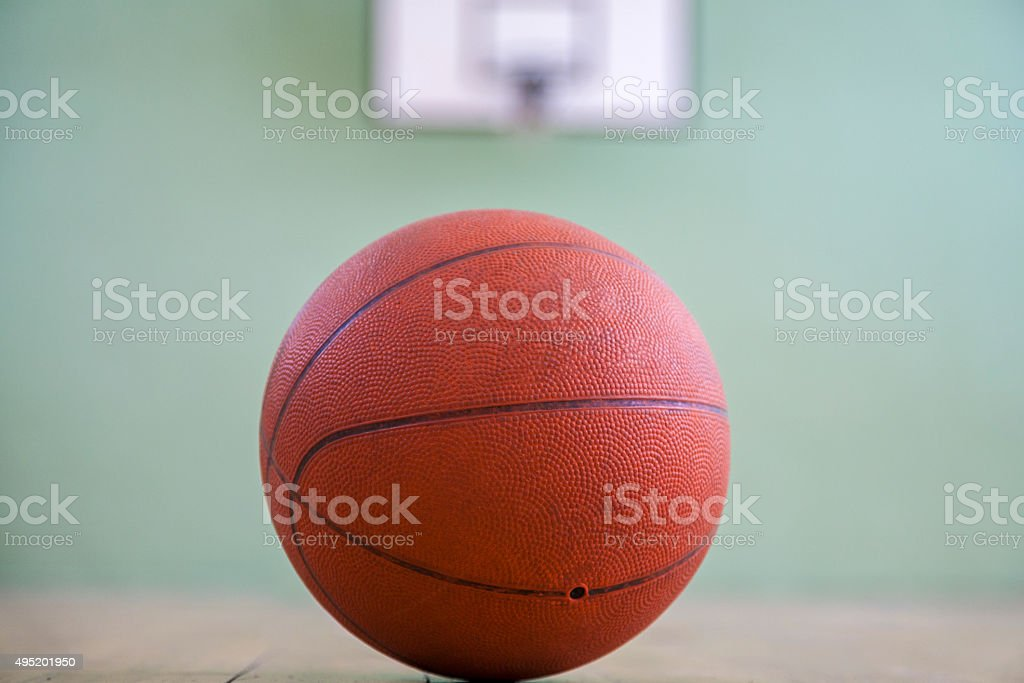 Basketball Ball on the Playground with Clipping Path stock photo
