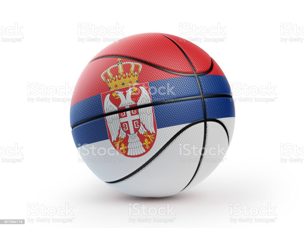 Basketball Ball Textured with Serbian Flag Isolated On White Background stock photo