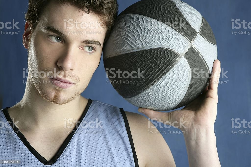 basketball basket ball real player portrait over grunge blue