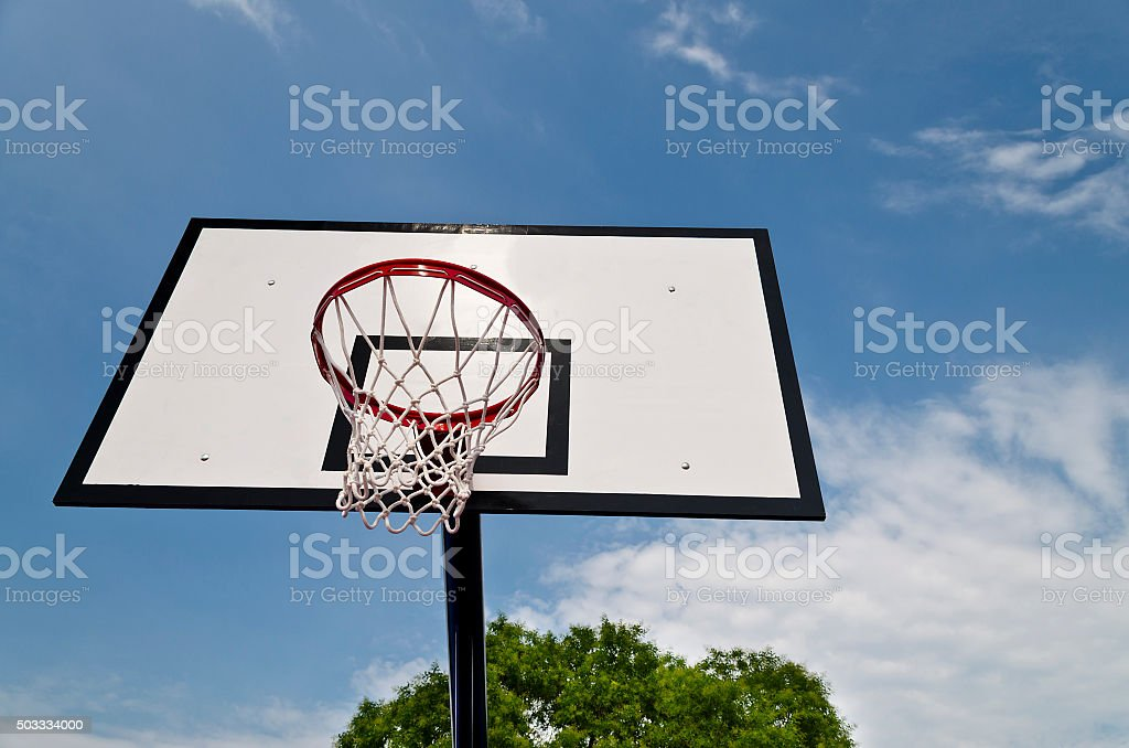 Basketball board on the sky background stock photo