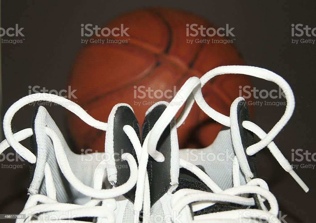 Basketball Boots and Basketball. stock photo