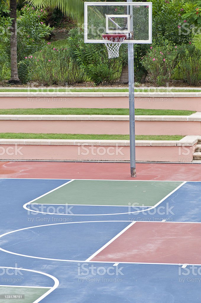 Basketball Close up on a Basketball Court stock photo