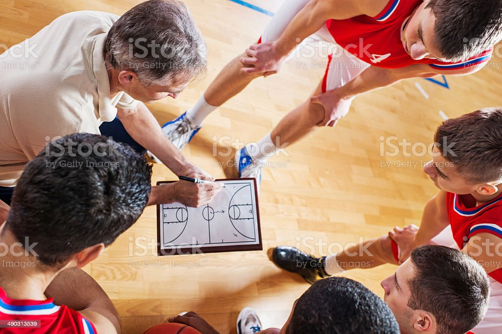Basketball coach with his team. stock photo