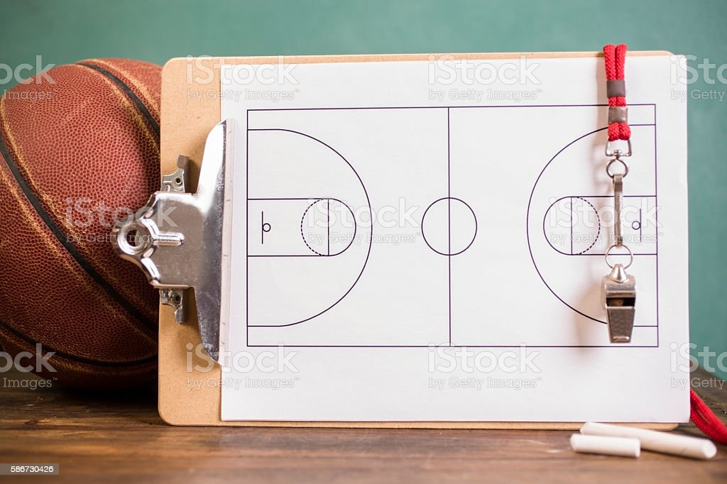 Basketball coach's equipment for school sports. stock photo