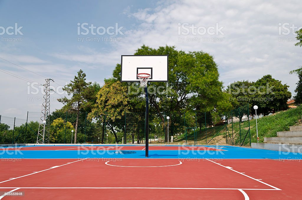 Basketball Court after the rain stock photo