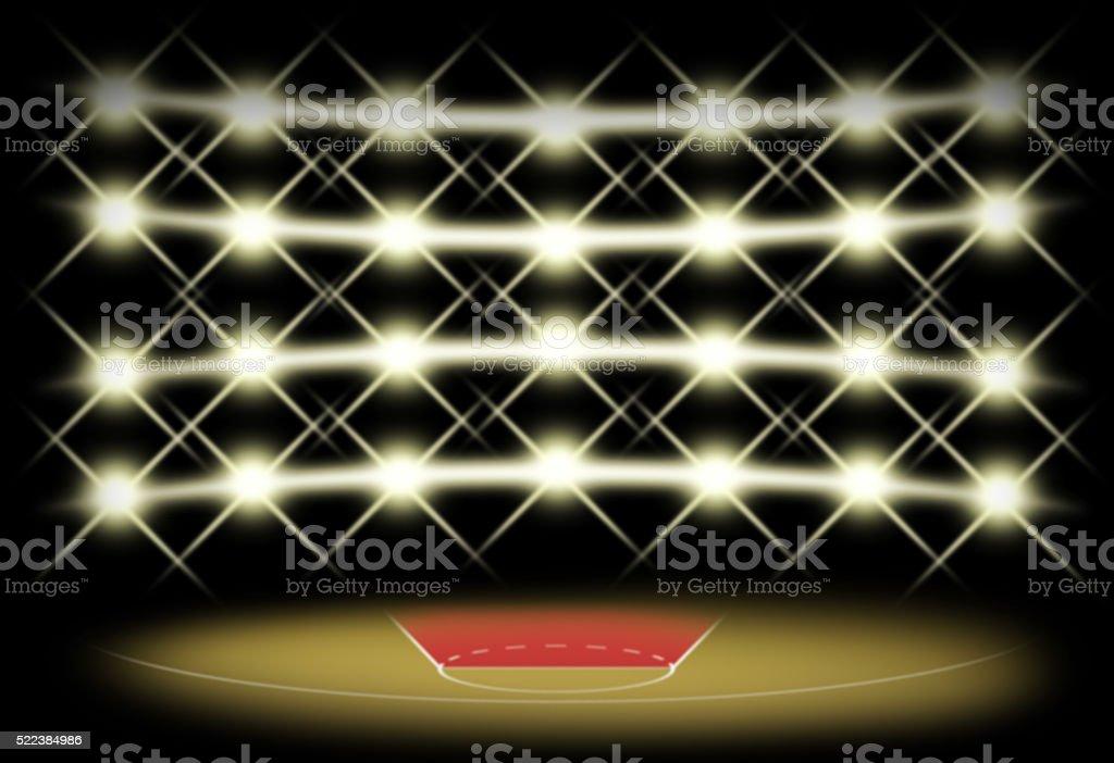 Basketball court in dark with spotlight background stock photo