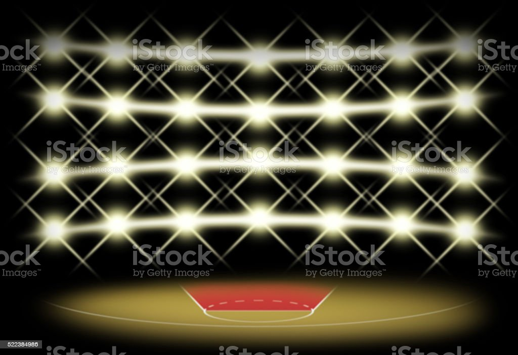 Basketball court in dark with spotlight background stock photo