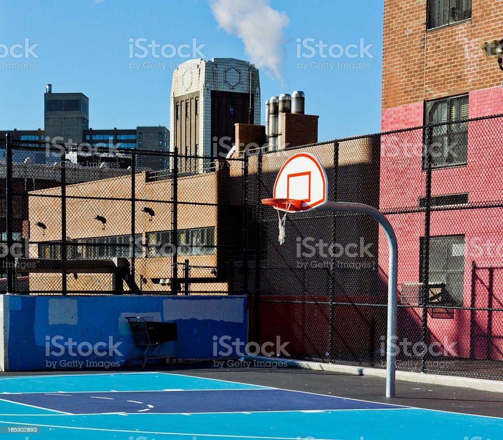 Basketball court in Harlem stock photo
