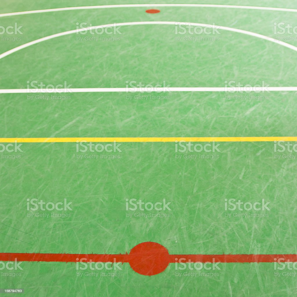 Basketball field area. Sekective focus on the red kine. A little of...