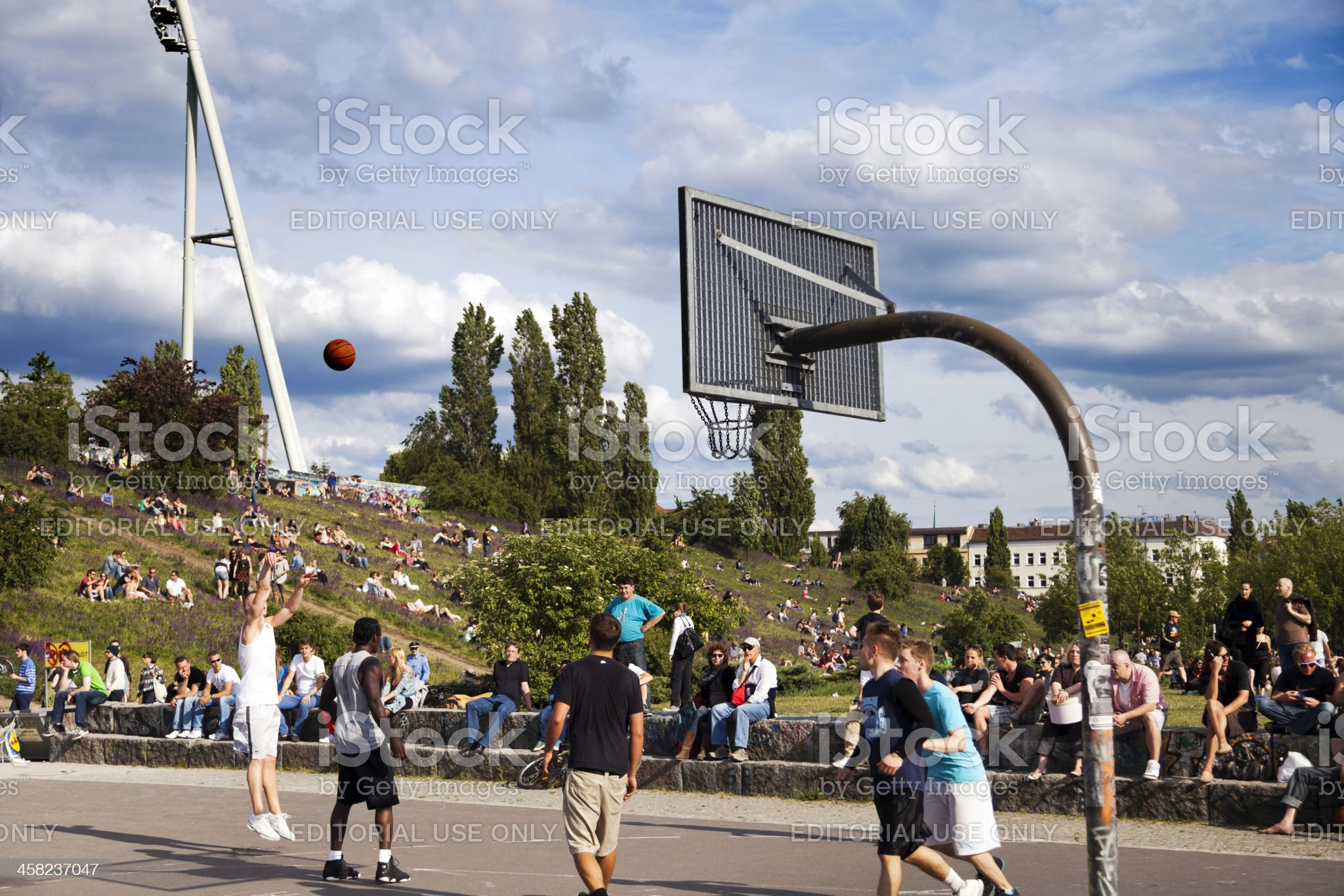 Basketball Game at Mauerpark Berlin royalty-free stock photo