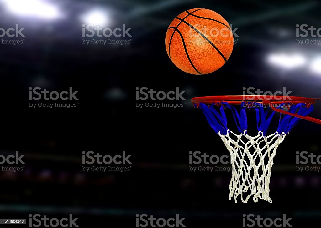 Basketball games under Spotlights stock photo