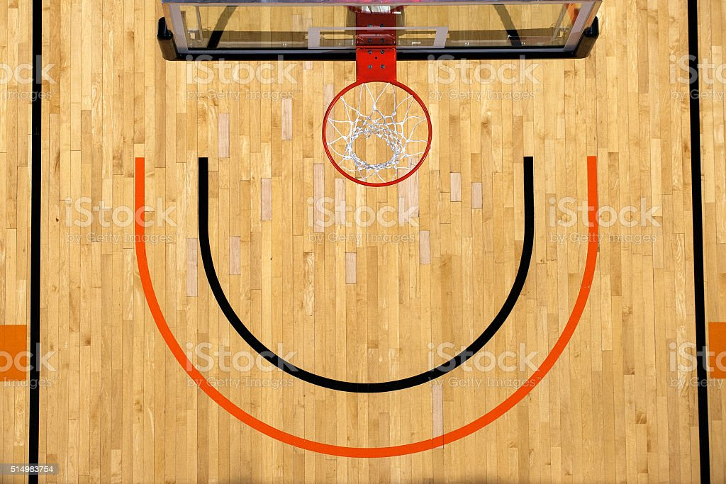 Basketball goal and backboard above a hardwood court. stock photo