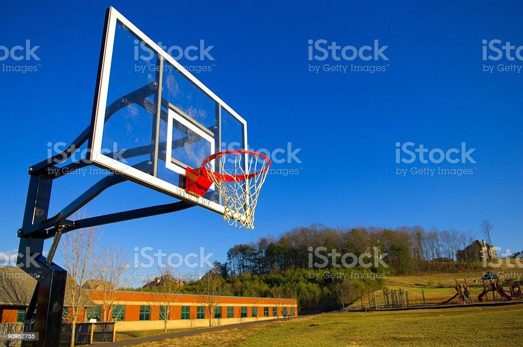 Basketball Goal at a Basketball Court at Park royalty-free stock photo