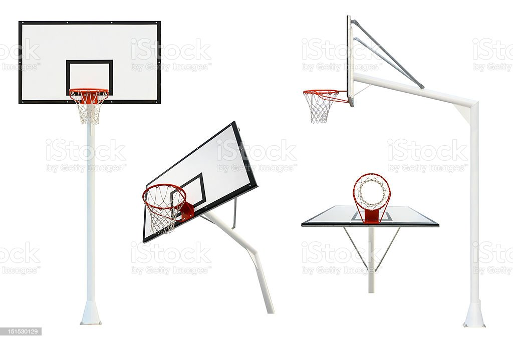 Basketball goal isolated from different views royalty-free stock photo