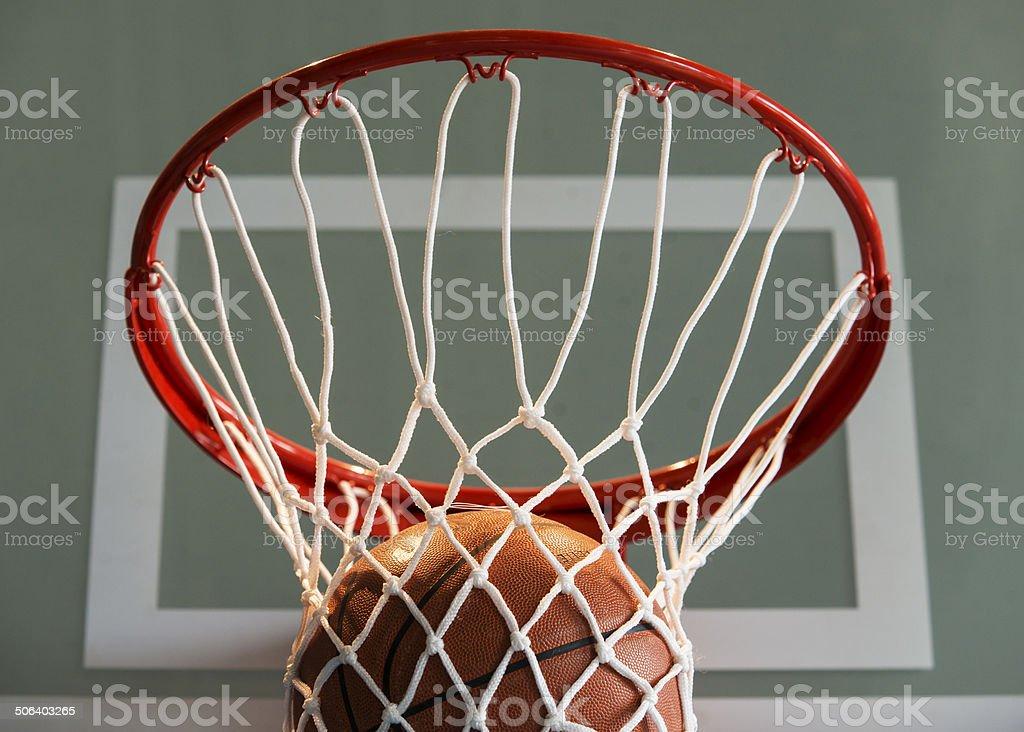 Basketball goal with ball and net stock photo