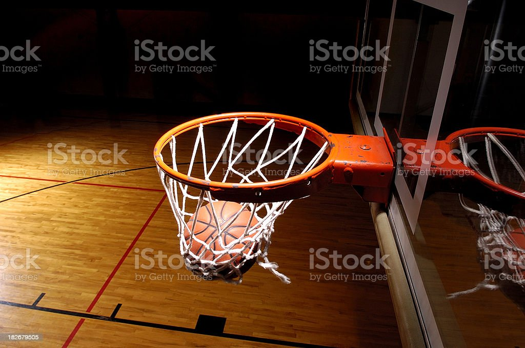 Basketball goal with ball stock photo