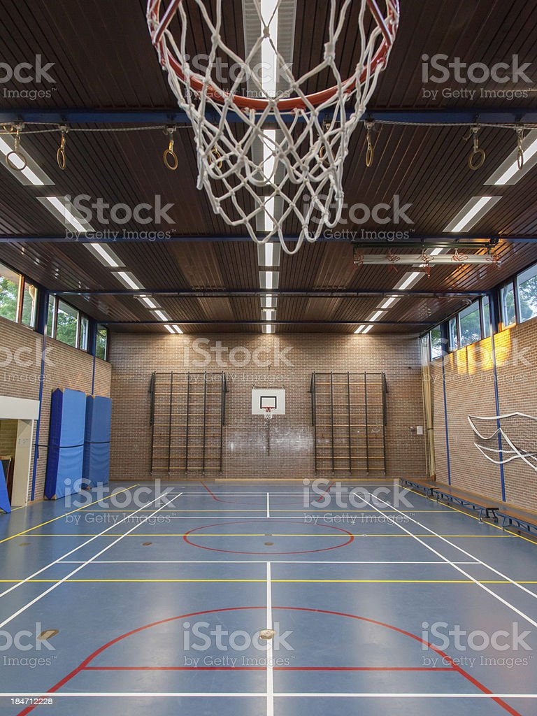 Basketball gym interior at school royalty-free stock photo