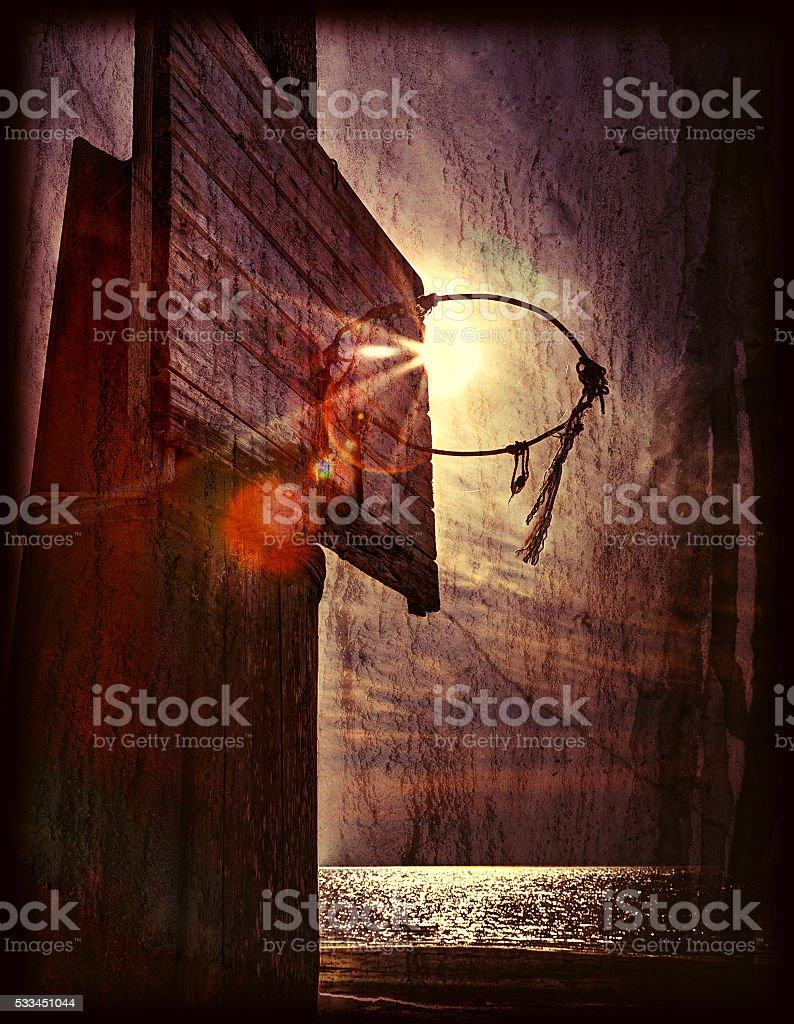 Basketball hoop against the sky stock photo